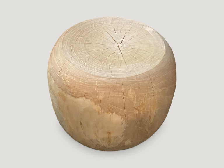 Reclaimed teak wood which we have hand carved into a beautiful drum shaped side table and bleached to a bone finish. Organic is the new modern.  The St. Barts Collection features an exciting new line of organic white wash and natural weathered