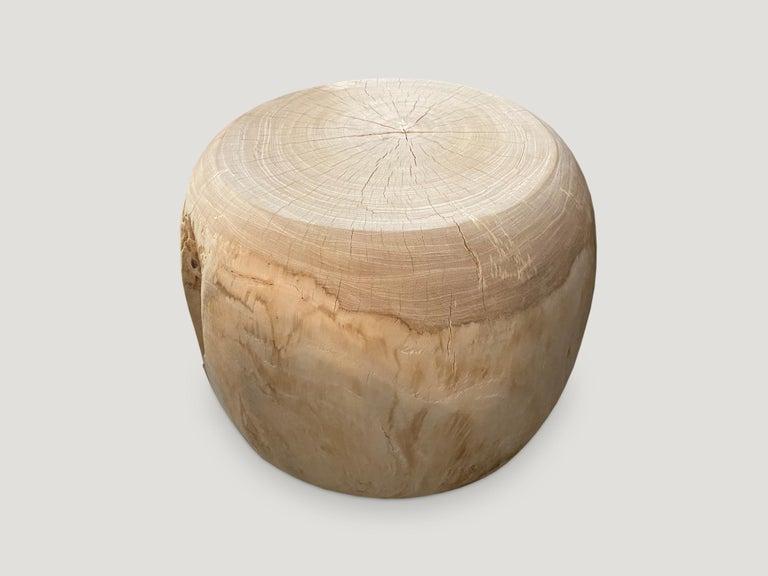 Organic Modern Andrianna Shamaris Bleached Teak Wood Drum Side Table For Sale