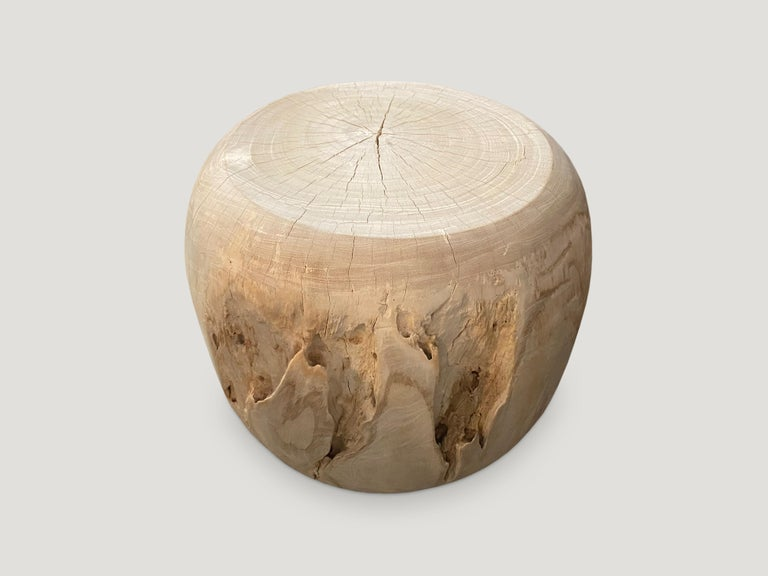 Contemporary Andrianna Shamaris Bleached Teak Wood Drum Side Table For Sale