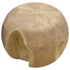 Andrianna Shamaris Bleached Teak Wood Drum Side Table