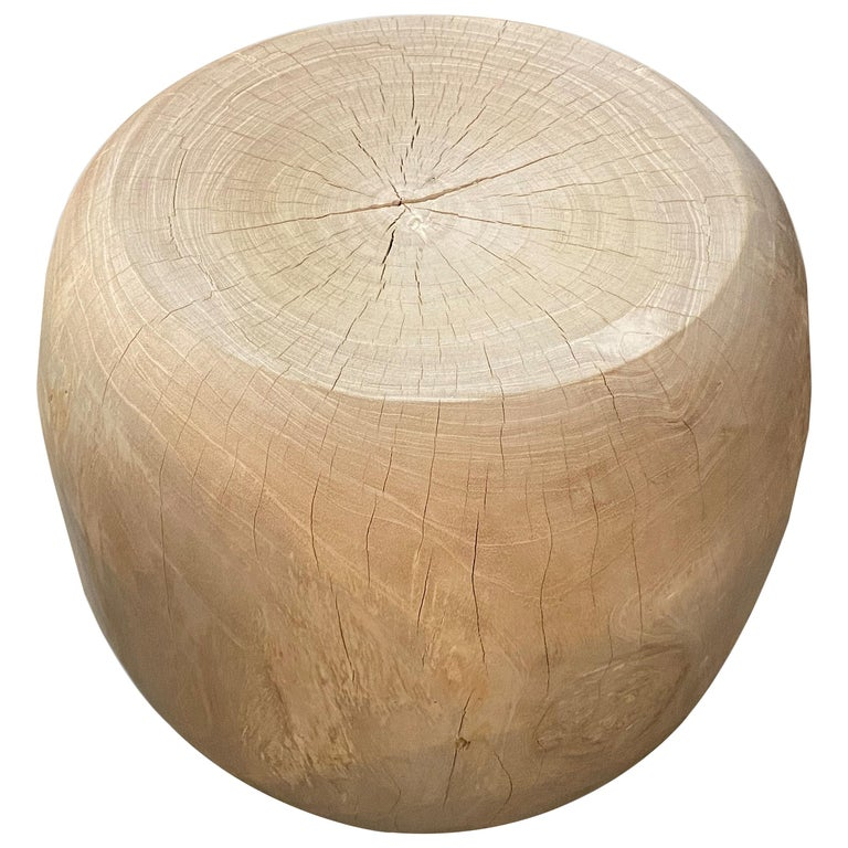 Andrianna Shamaris Bleached Teak Wood Drum Side Table For Sale