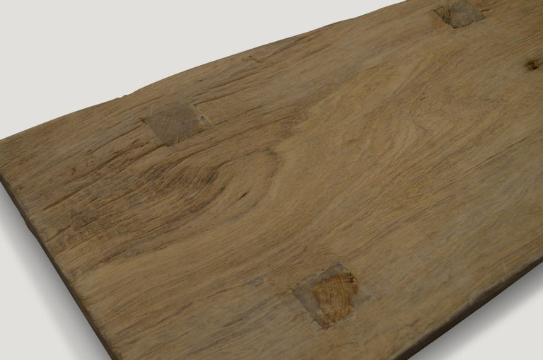 Organic Modern Andrianna Shamaris Bleached Teak Wood Side Table/Coffee Table or Bench For Sale