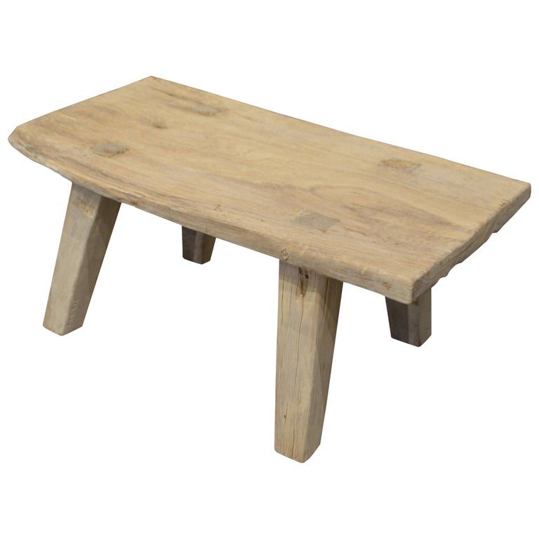 Andrianna Shamaris Bleached Teak Wood Side Table/Coffee Table or Bench For Sale