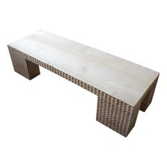Andrianna Shamaris Bleached Teak Wood St. Barts Coffee Table