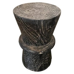 Andrianna Shamaris Cerused Charred Teak Wood Side Table