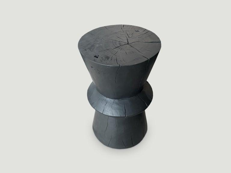 Organic Modern Andrianna Shamaris Charred Tamarind Wood Side Table For Sale