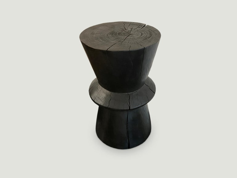 Andrianna Shamaris Charred Tamarind Wood Side Table In Excellent Condition For Sale In New York, NY