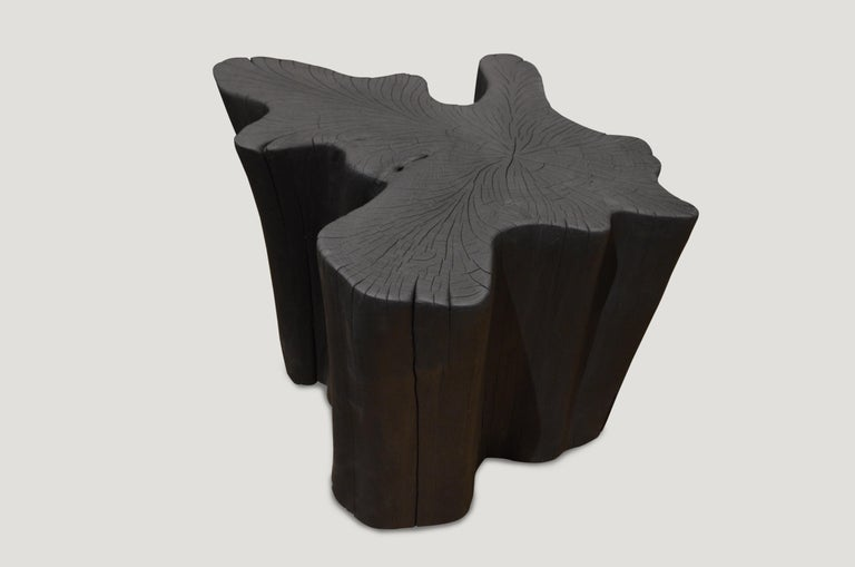 Coffee table or large side table hand carved from a single reclaimed teak wood root. A slight graduation from the bottom to the top.  Burnt, sanded and sealed leaving the grain of the wood showing.  The Triple Burnt collection represents a