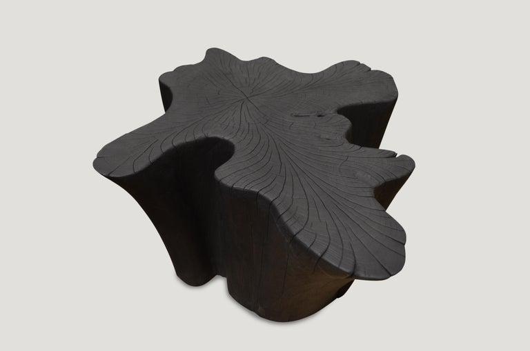 Organic Modern Andrianna Shamaris Charred Teak Wood Coffee Table or Side Table For Sale