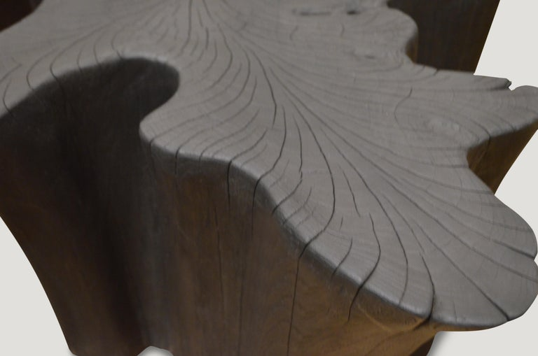 Andrianna Shamaris Charred Teak Wood Coffee Table or Side Table In Excellent Condition For Sale In New York, NY
