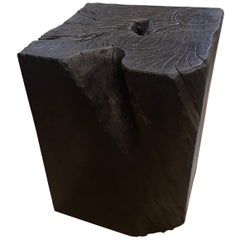 Andrianna Shamaris Charred Teak Wood Side Table