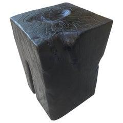 Andrianna Shamaris Charred Teak Wood Side Table or Stool