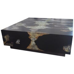 Andrianna Shamaris Cracked Resin and Teak Wood Coffee Table