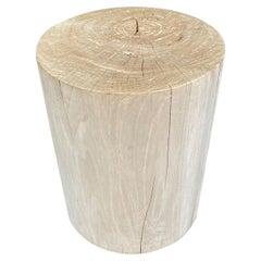 Andrianna Shamaris Cylinder Bleached Teak Wood Side Table or Stool