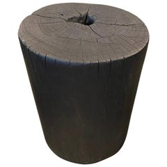 Andrianna Shamaris Cylinder Charred Teak Wood Side Table or Stool