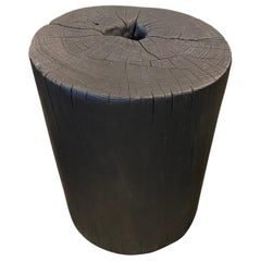 Andrianna Shamaris Cylinder Charred Teak Wood Side Table or Stool