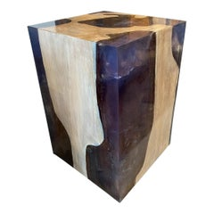 Andrianna Shamaris Deep Sea Blue Resin and Teak Wood Side Table