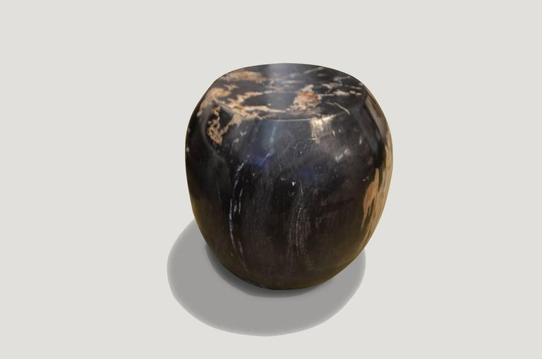 Super smooth carved petrified wood drum shape side table.  We source the highest quality petrified wood available. Each piece is hand selected and highly polished with minimal cracks. Petrified wood is extremely versatile – even great inside a