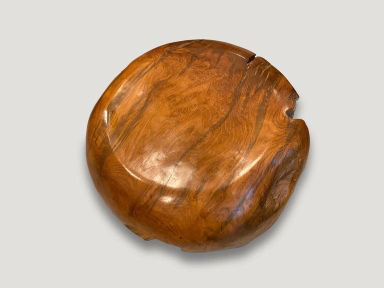 Organic Modern Andrianna Shamaris Drum Shaped Teak Wood Coffee Table For Sale