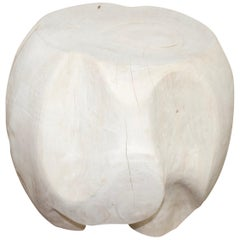 Andrianna Shamaris Drum Shaped Teak Wood Side Table or Stool