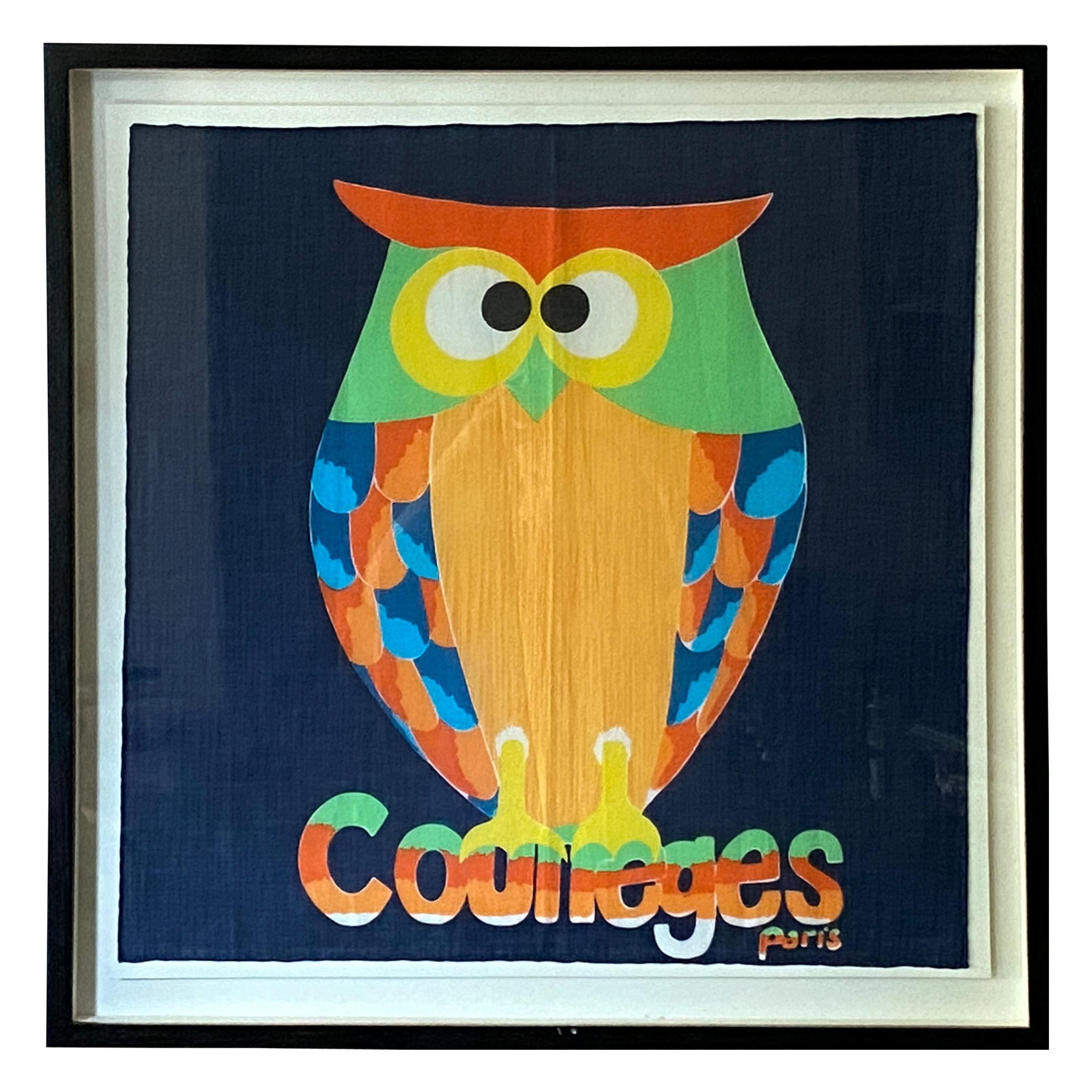 Andrianna Shamaris Framed Vintage Courrèges Owl Scarf from Paris France