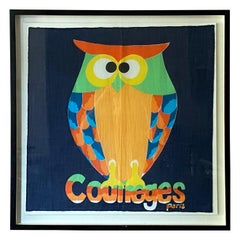 Andrianna Shamaris Framed Vintage Courrèges Owl Scarf from Paris France