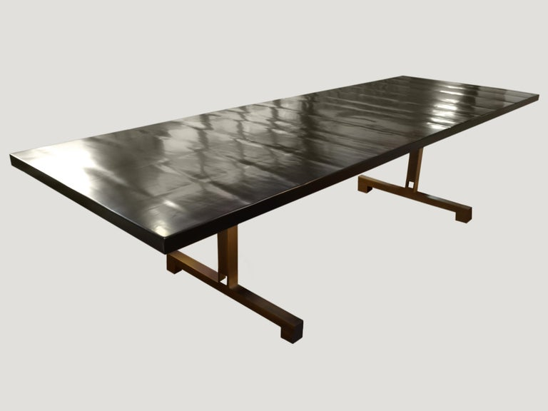 Modern Andrianna Shamaris French Polished Cube Base Dining Table For Sale