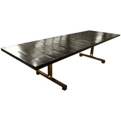 Andrianna Shamaris French Polished Cube Base Dining Table