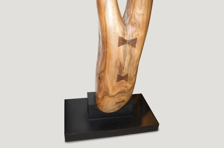 Andrianna Shamaris Girl Upside Down Suar Wood Sculpture For Sale 3