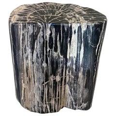 Andrianna Shamaris Grey and Black Petrified Wood Side Table