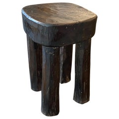 Andrianna Shamaris Hand Carved African Wood Side Table or Stool