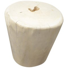 Andrianna Shamaris Hand-Carved Bleached Teak Wood Side Table