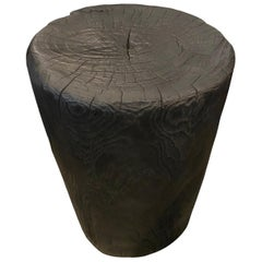 Andrianna Shamaris Hand Carved Charred Teak Wood Side Table