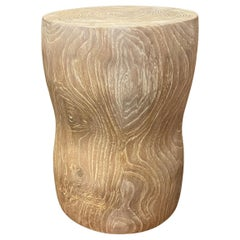 Andrianna Shamaris Hand Carved Teak Wood Side Table or Stool