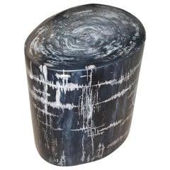 Andrianna Shamaris High Quality Black and Grey Petrified Wood Side Table