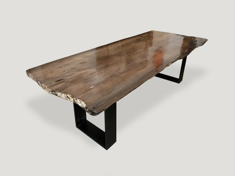 Organic Modern Andrianna Shamaris High Quality Petrified Wood Dining Table For Sale