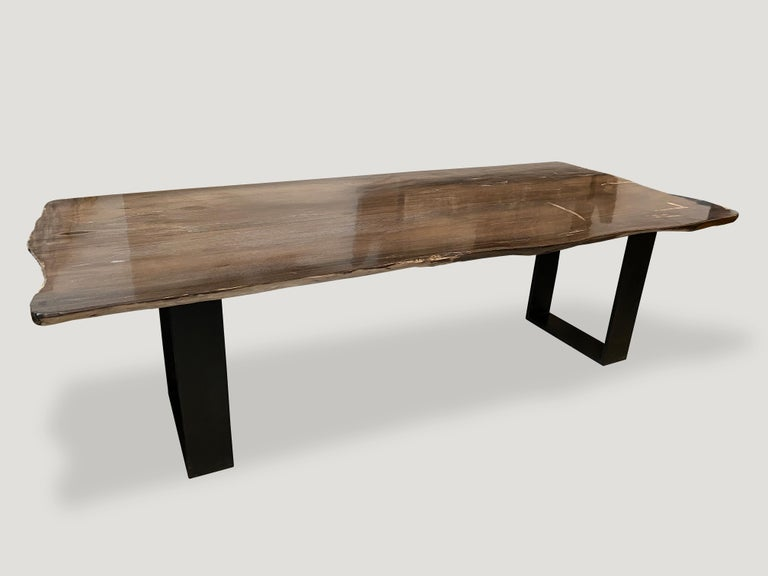 Andrianna Shamaris High Quality Petrified Wood Dining Table In Excellent Condition For Sale In New York, NY