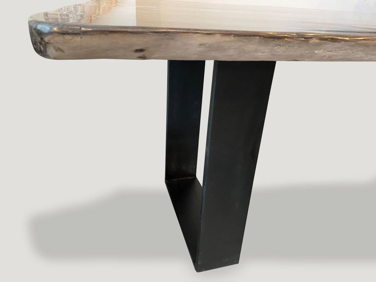 Metal Andrianna Shamaris High Quality Petrified Wood Dining Table For Sale