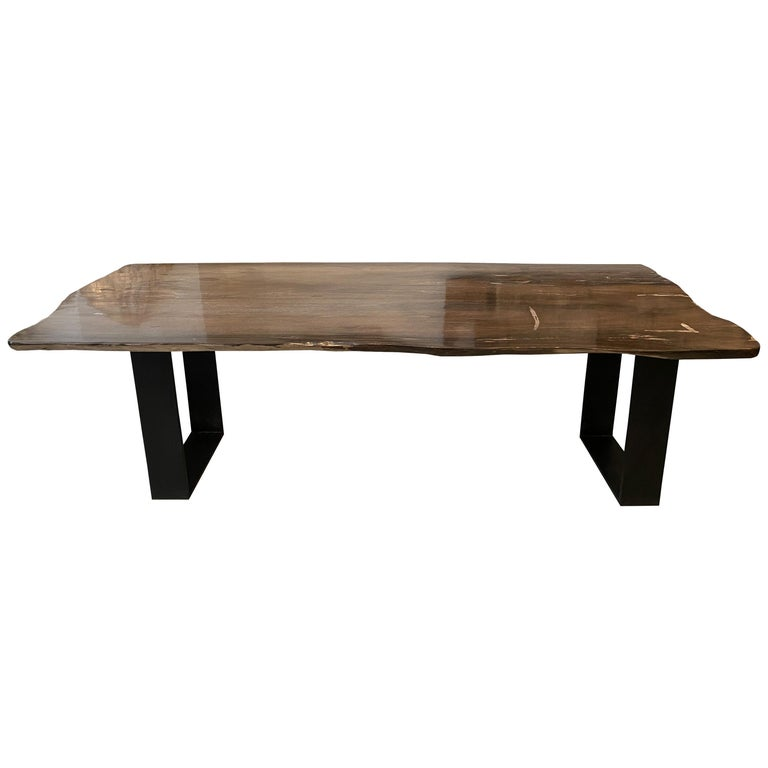 Andrianna Shamaris High Quality Petrified Wood Dining Table For Sale