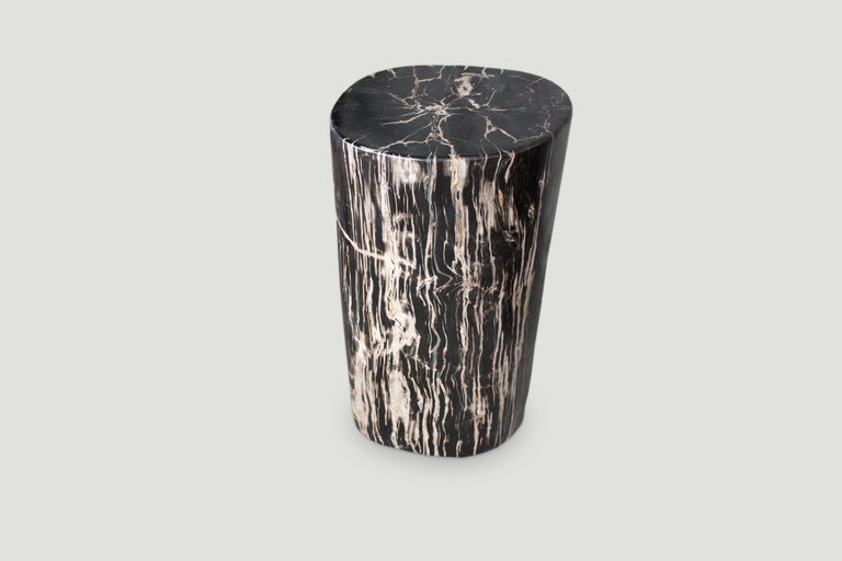 Stunning, black and beige, high quality petrified wood side table or pedestal. It's fascinating how Mother Nature produces these stunning 40 million year old petrified teak logs with such contrasting colors with natural patterns throughout. Modern