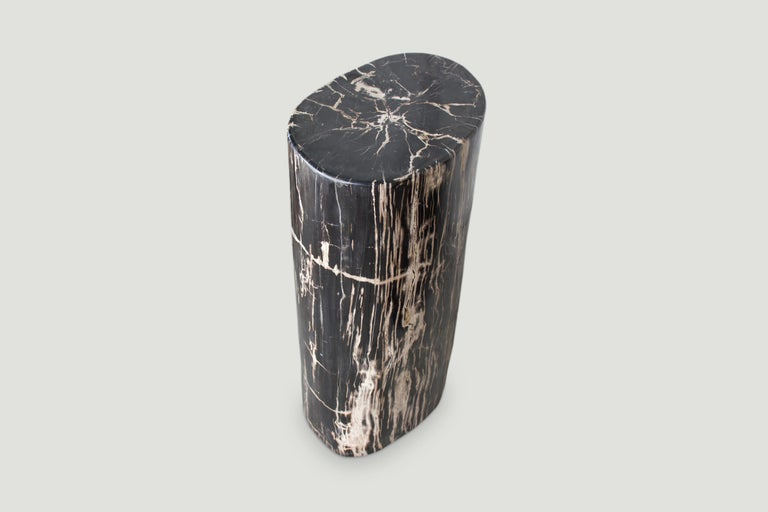 Andrianna Shamaris High Quality Petrified Wood Side Table or Pedestal In Excellent Condition For Sale In New York, NY