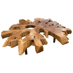 Andrianna Shamaris Impressive Teak Wood Coffee Table