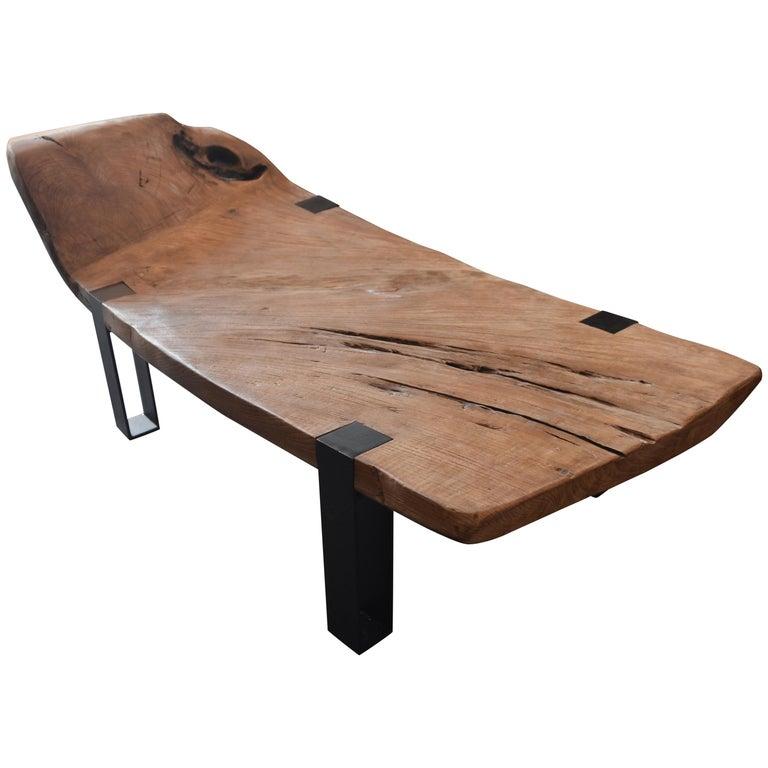Andrianna Shamaris Impressive Teak Wood Slab Chaise For