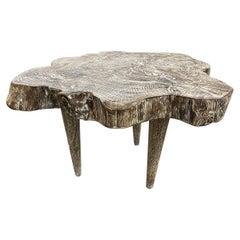 Andrianna Shamaris Live Edge Single Charred Cerused Teak Wood Side Table