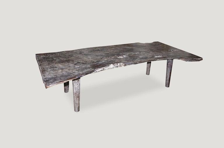 Organic Modern Andrianna Shamaris Live Edge Single Slab Teak Wood Coffee Table or Bench For Sale