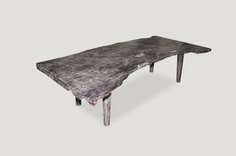 Andrianna Shamaris Live Edge Single Slab Teak Wood Coffee Table or Bench In Excellent Condition For Sale In New York, NY