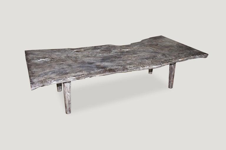 Contemporary Andrianna Shamaris Live Edge Single Slab Teak Wood Coffee Table or Bench For Sale