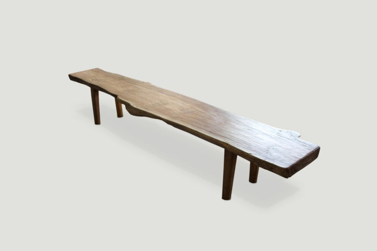 Andrianna Shamaris Live Edge Teak Wood Bench In Excellent Condition For Sale In New York, NY