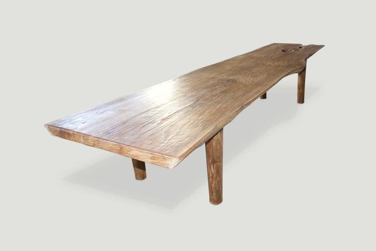 Organic Modern Andrianna Shamaris Live Edge Teak Wood Coffee Table or Bench For Sale