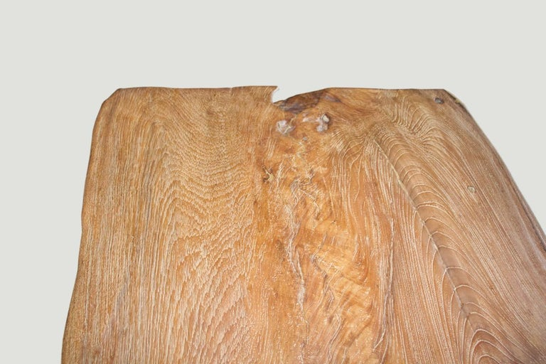 Organic Modern Andrianna Shamaris Live Edge Teak Wood Coffee Table or Bench For Sale